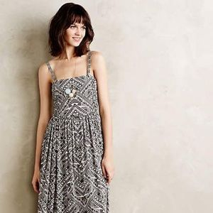 Brown and white print midi dress